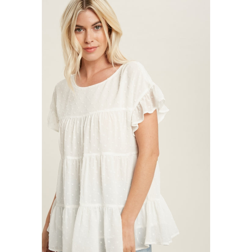Charmed Life Swiss Dot Ruffle Sleeve Tiered Blouse White