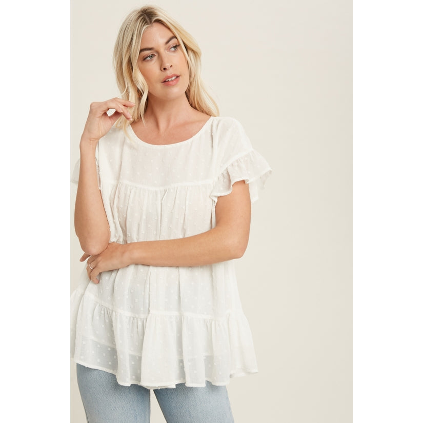 Charmed Life Swiss Dot Ruffle Sleeve Tiered Blouse