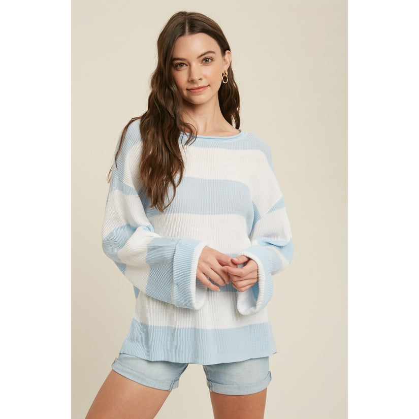 Butter Skies Ribbed Striped Pullover Top Light Blue