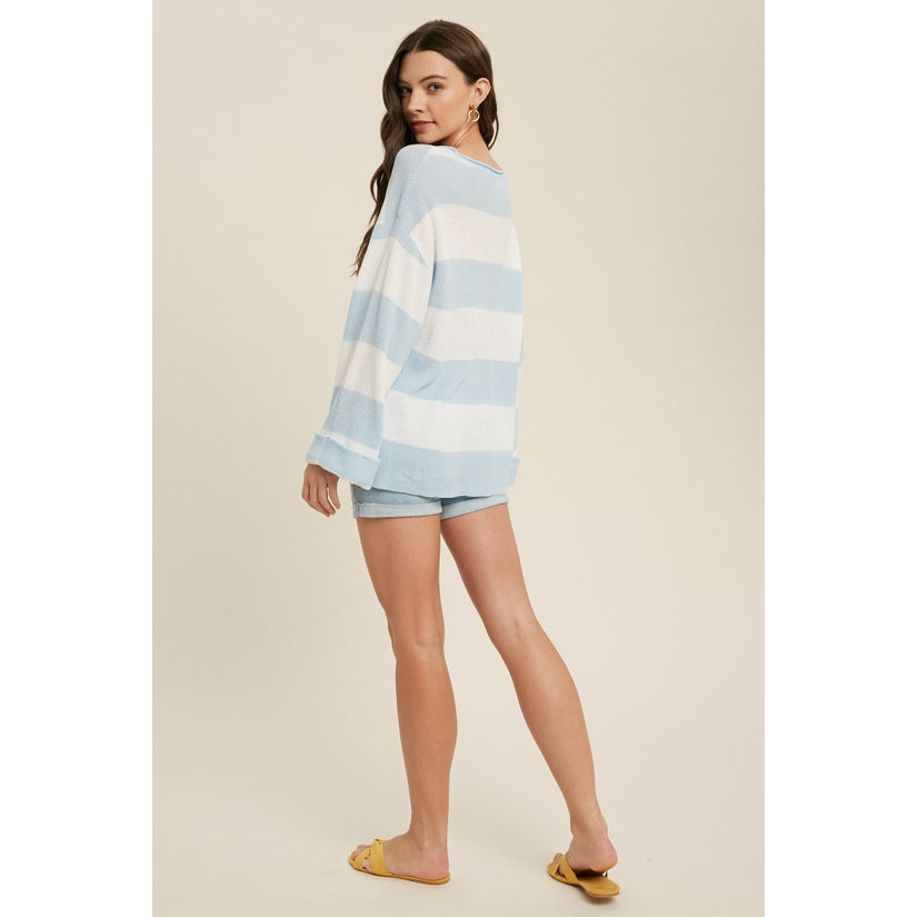 Butter Skies Ribbed Striped Pullover Top