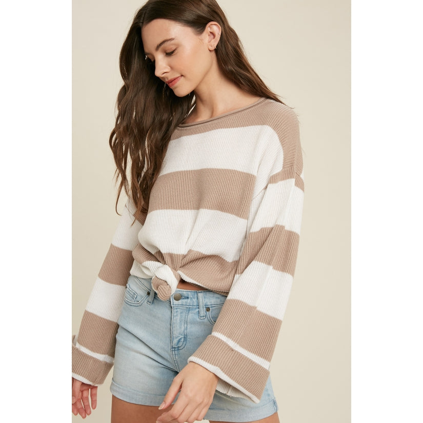 Butter Skies Ribbed Striped Pullover Top Walnut
