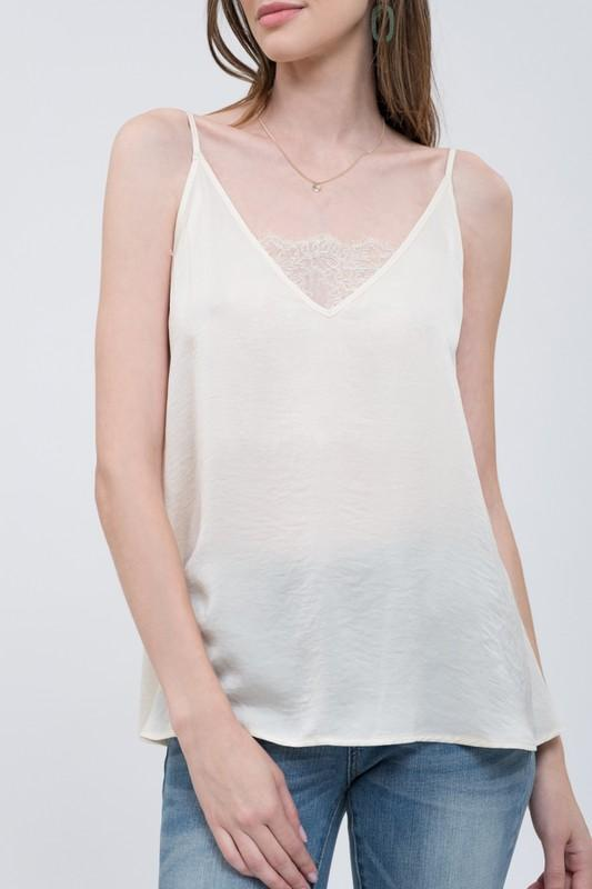 Sadie Satin V-Neck Camisole With Lace Detail