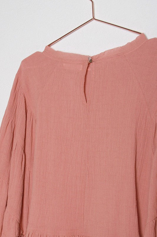 Pink Liberty Ava Ruffled 3/4 Length Long Sleeve Linen Top in Blush