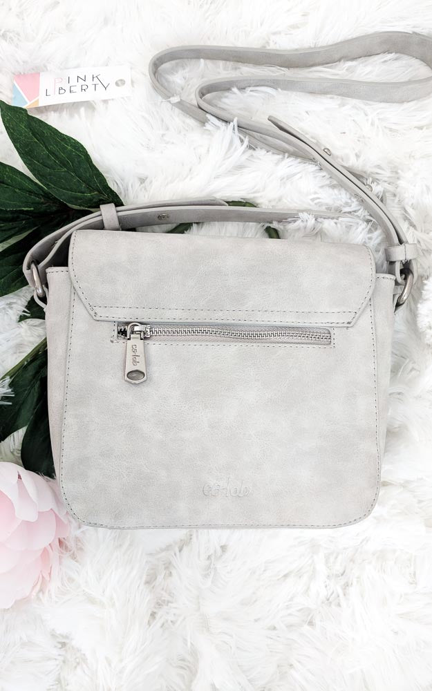 Vegan Leather Grey Double Flap Crossbody