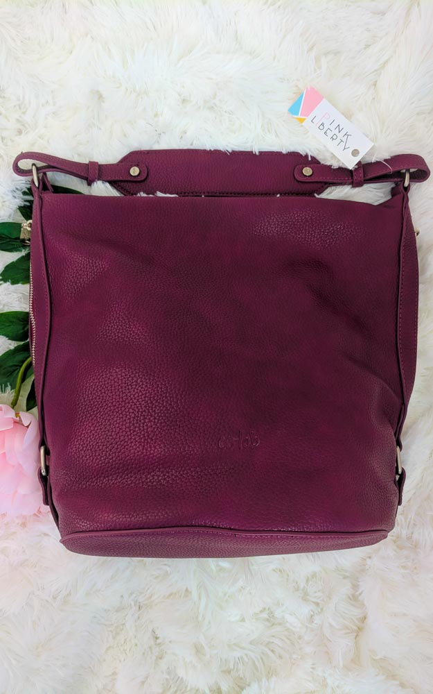 Vegan Leather Hobo Purse Maroon