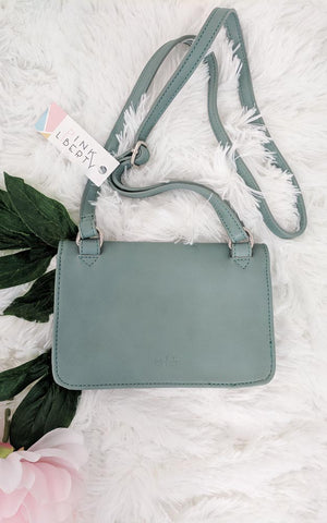 Vegan Leather Mint Crossbody Purse