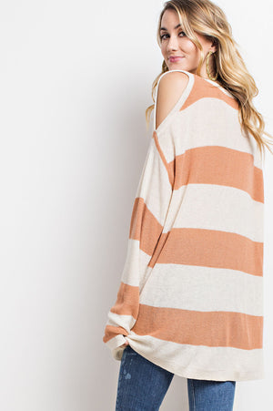 Pink Liberty Long Sleeve Stripe Knitted Cold Shoulder Tunic Sweater