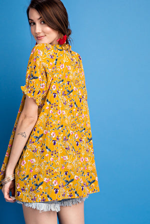 Golden Mustard Retro Puff Sleeves Floral Printed Woven Voile Top