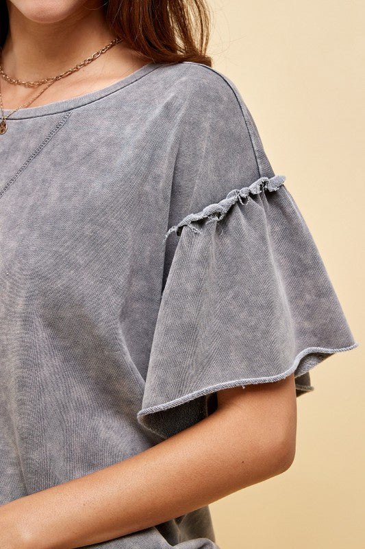 Sweet Like Me Mineral Wash Ruffle Sleeve Top