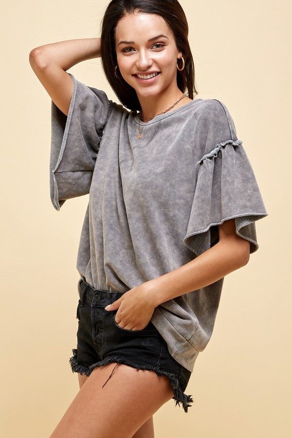 Pink Liberty Be Like Me Mineral Wash Ruffle Sleeve Top Charcoal Grey