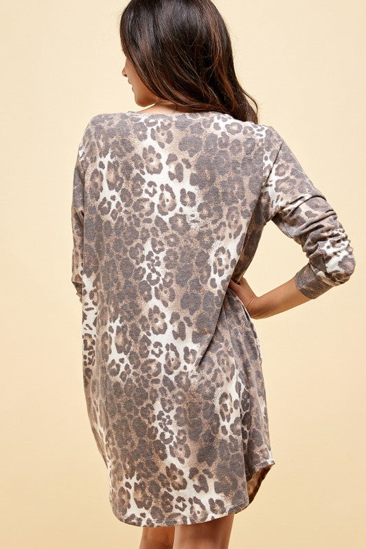 Roam Free Leopard Lounger T-Shirt Dress with Pockets