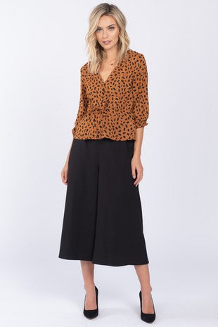 Pink Liberty Camilla Leopard Print Drawstring Tie Blouse Camel/Black