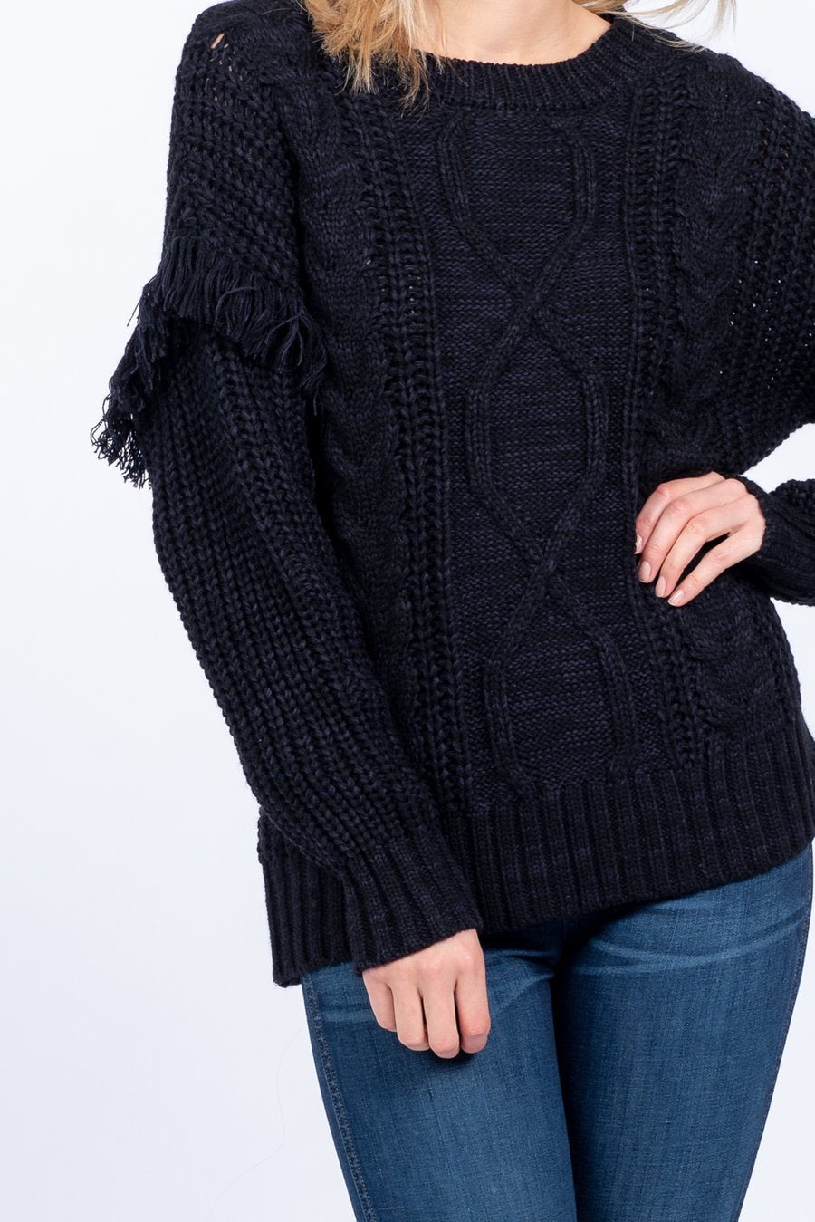 Midnight Beauty Cable Knit Fringe Sweater