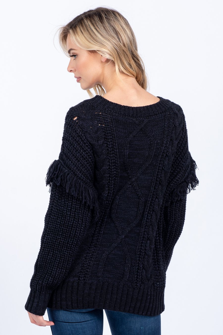 Pink Liberty Midnight Beauty Cable Knit Fringe Sweater Black