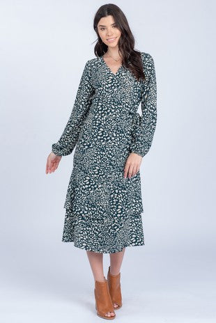 Pink Liberty Lenore Leopard Print Long Sleeve Midi Wrap Dress Forest Green