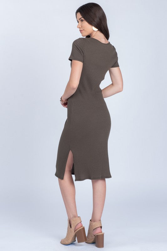 In Knots Olive Twist Ribbed Dress