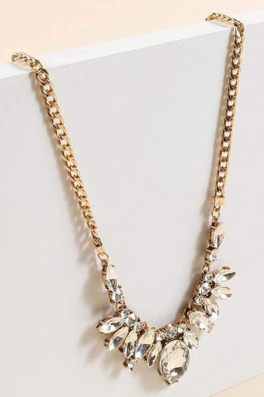 Pink Liberty Make It So Crystal Stone Statement Necklace Gold
