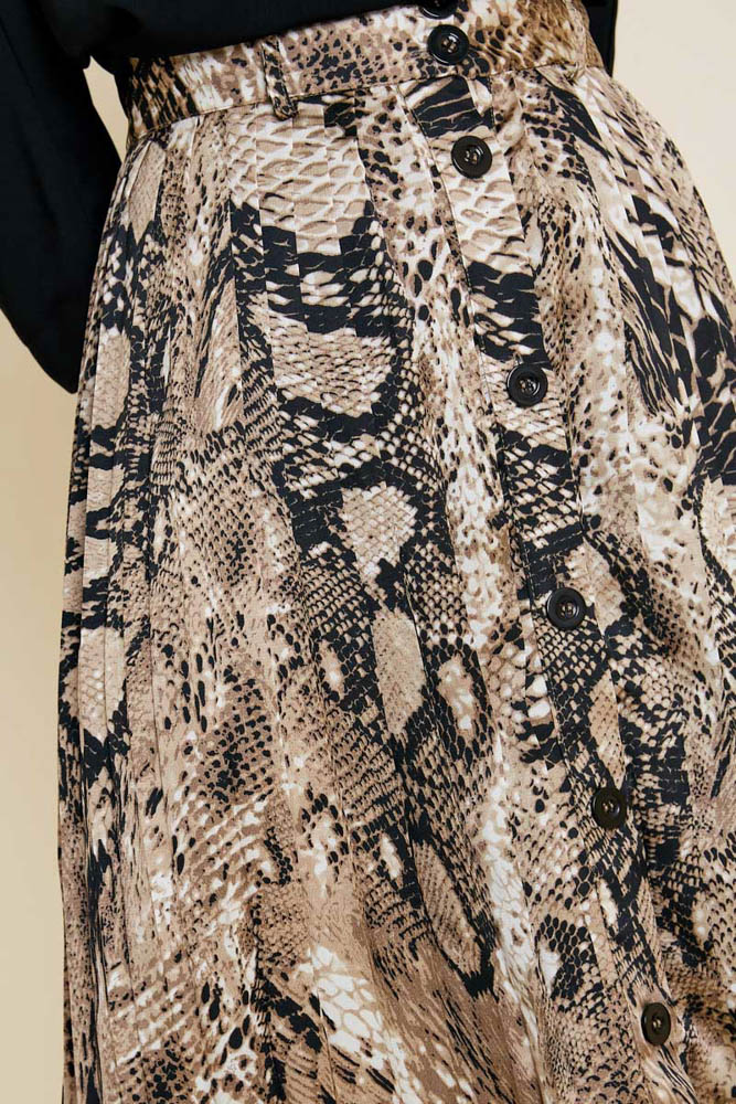 Uptown Girl Snakeskin Button-Down Midi Skirt