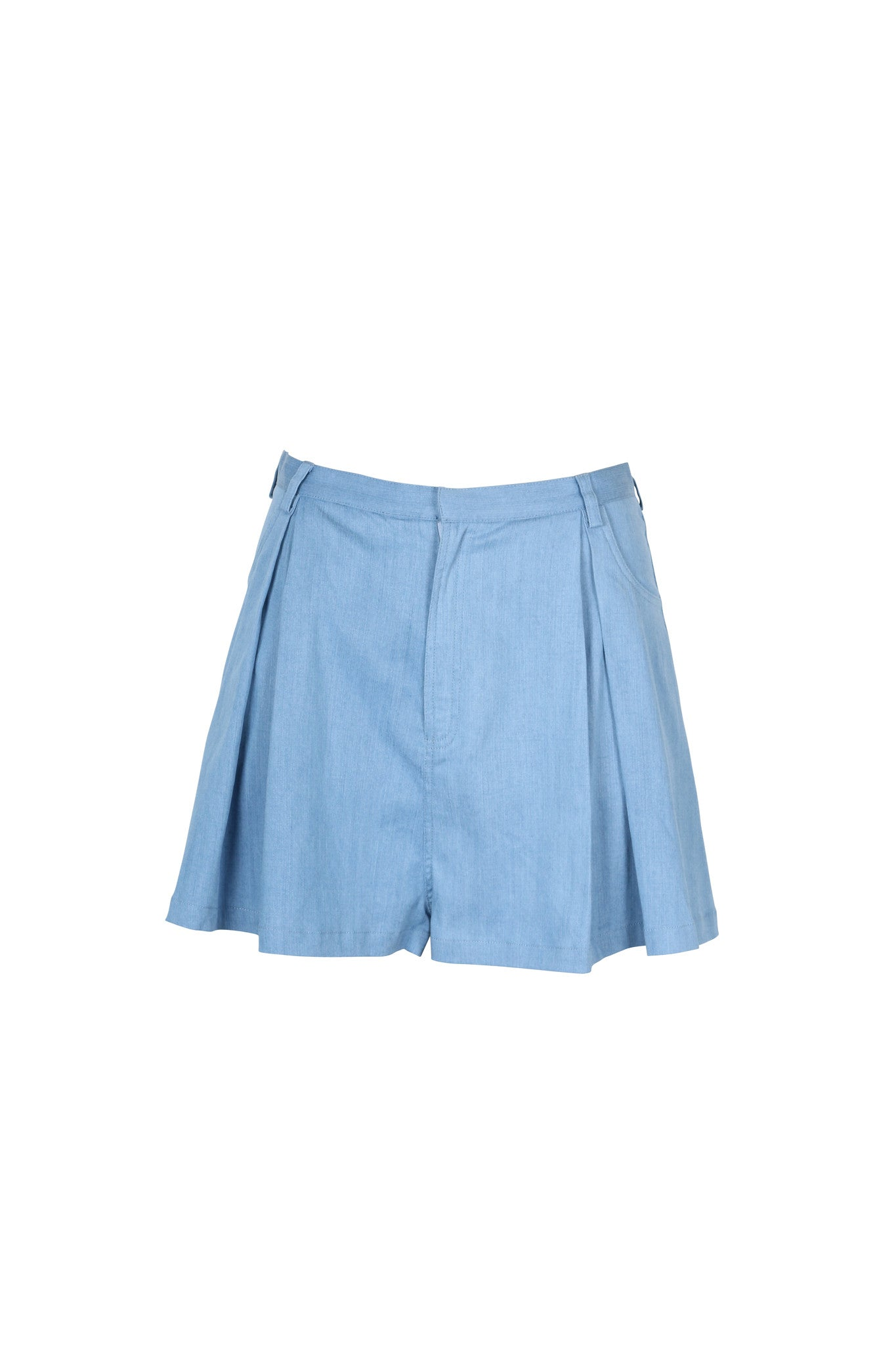 Chambray High Waisted Shorts