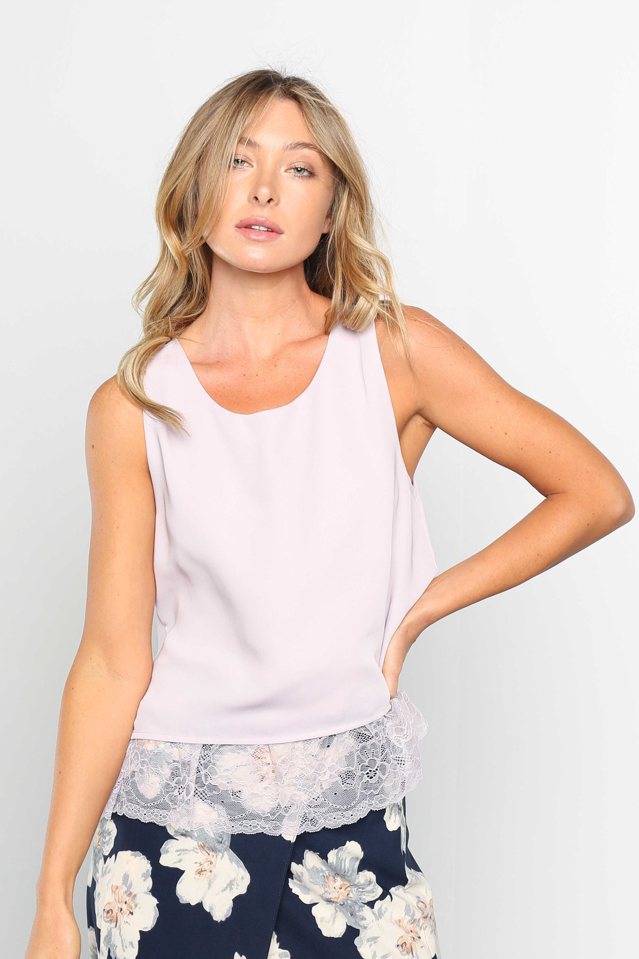 Pink Liberty Layered Lace Bottom Sleeveless Blouse in Lilac