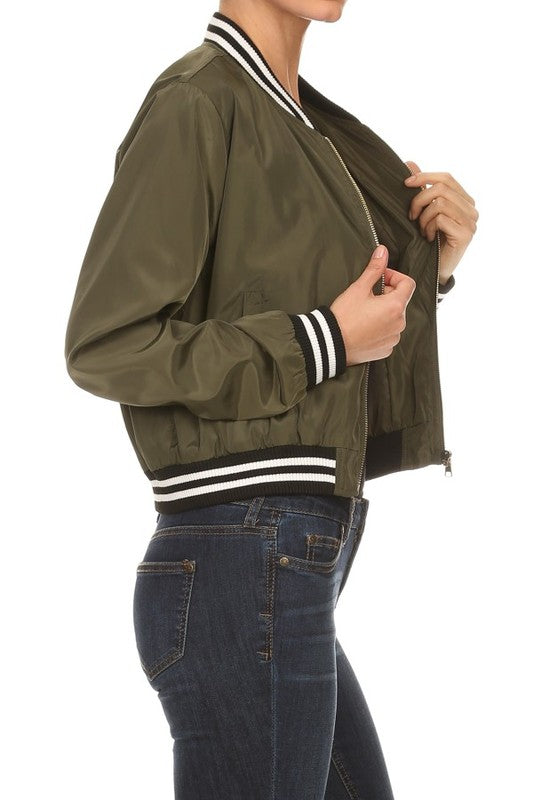 Katie Crop Bomber Jacket
