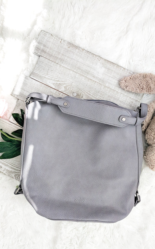 Vegan Leather Hobo Purse Grey