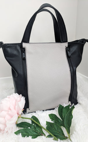 Two-Tone Satchel Grey Black