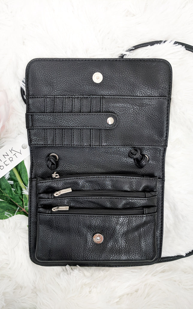 Vegan Leather Crossbody Wallet Purse Black