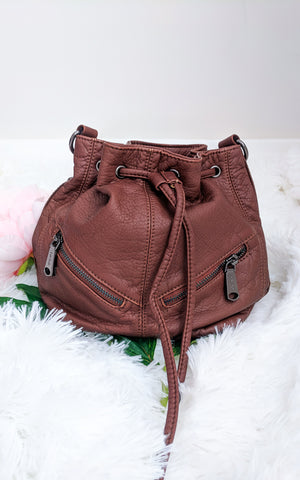 Vegan Leather Drawstring Purse Saddle Brown
