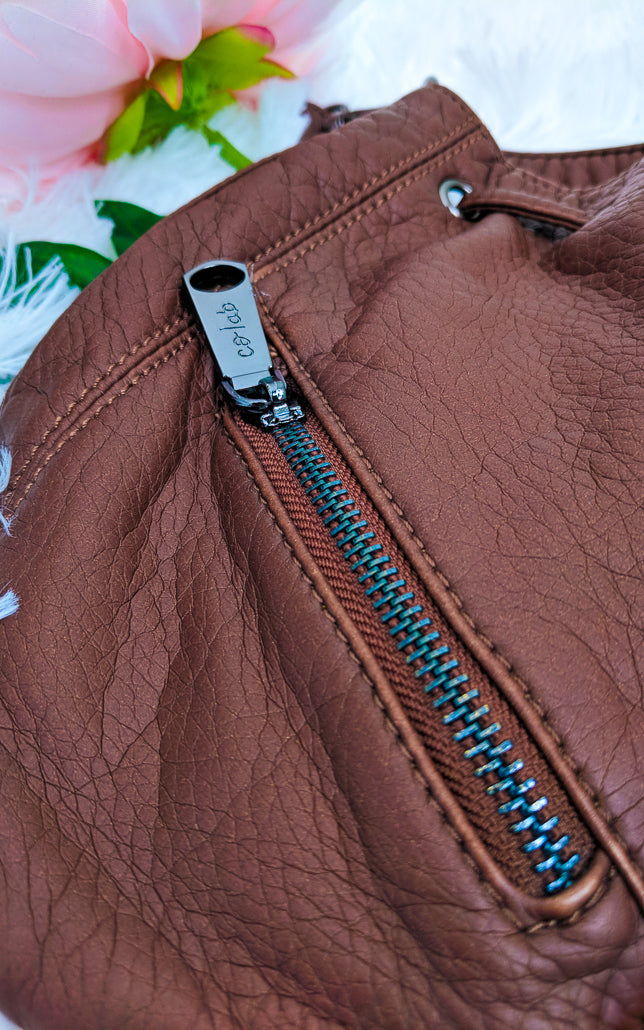 Vegan Leather Drawstring Purse