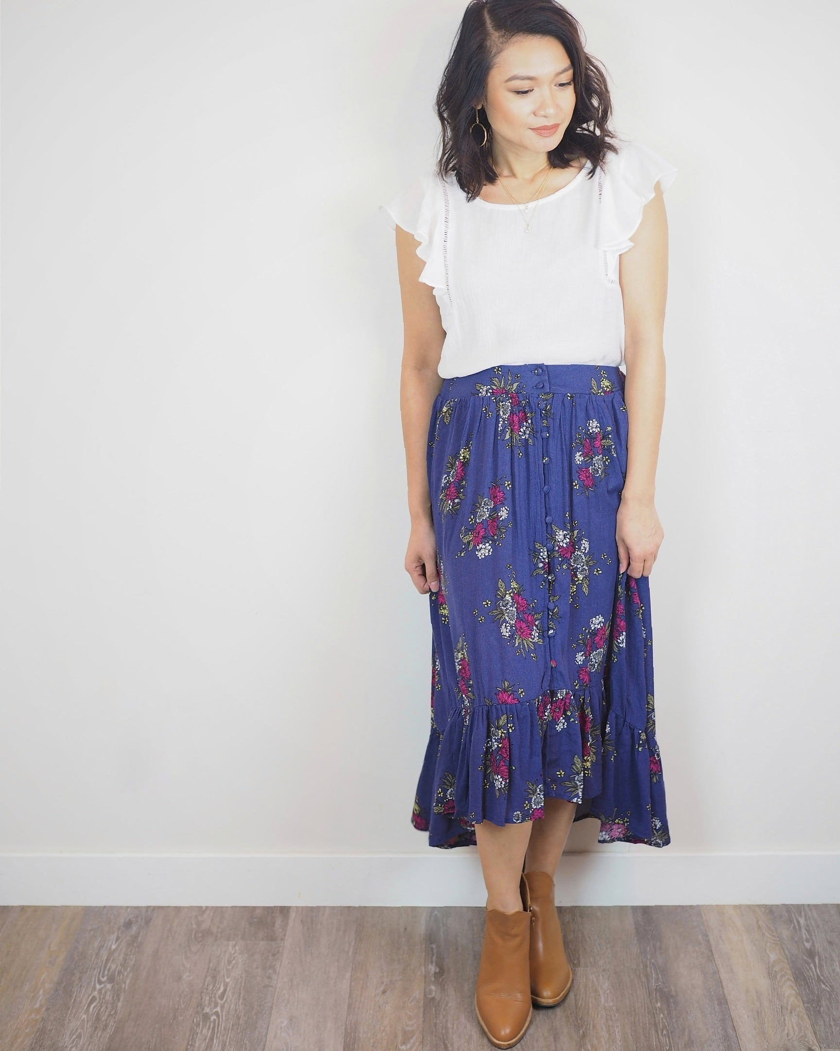 Pink Liberty Boutique Prairie Floral Flowy Button Down Midi Skirt