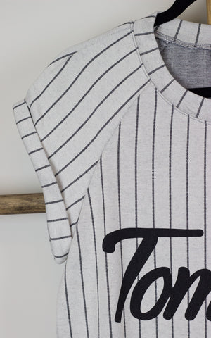 Tomboy Striped Baseball Tunic Dress