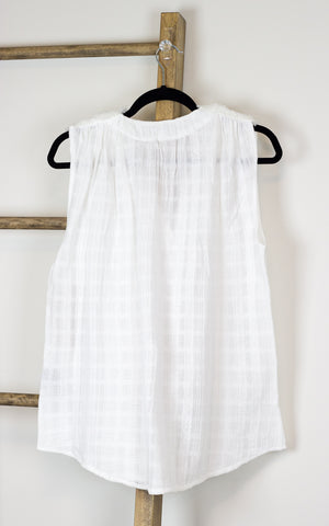 Flowy Snap Button Button Front Gauze Sleeveless Blouse