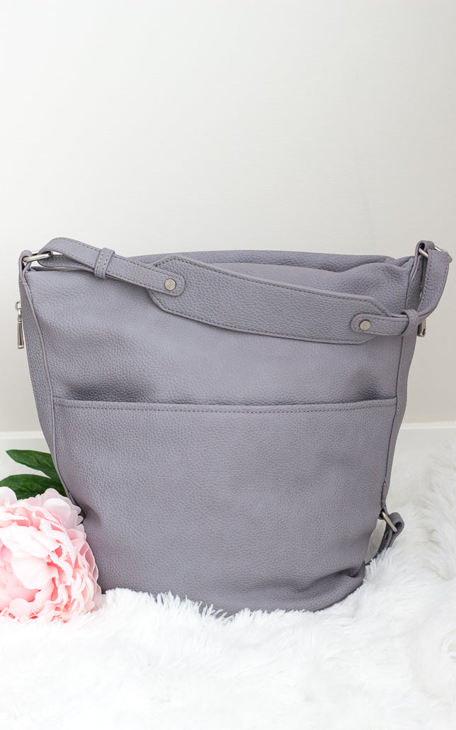 Colab Vegan Leather Hobo Purse Grey