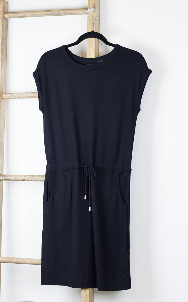 Press Gathered Drawstring Waist T-shirt Dress Black