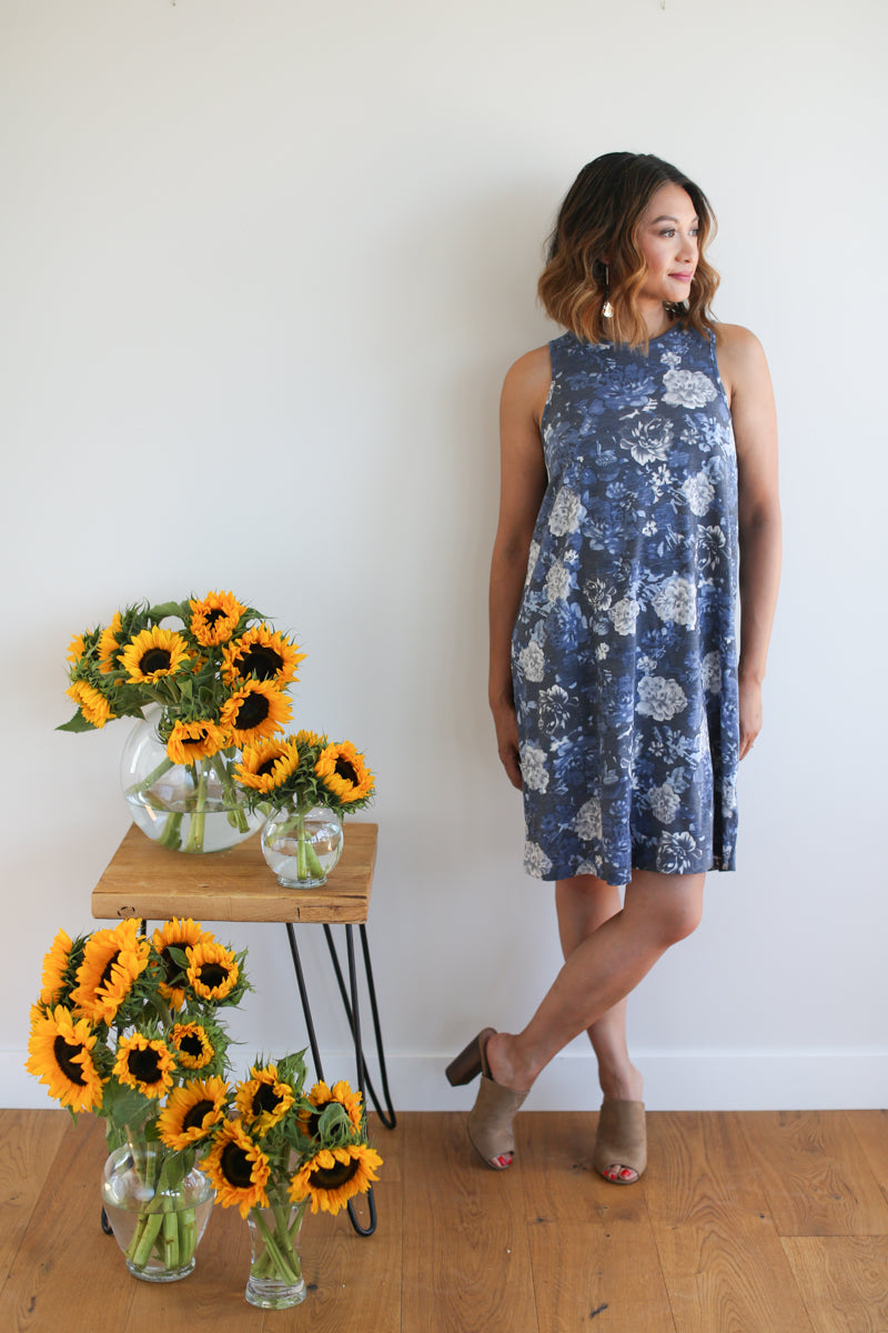 A-Line Blue Rhapsody Floral Dress