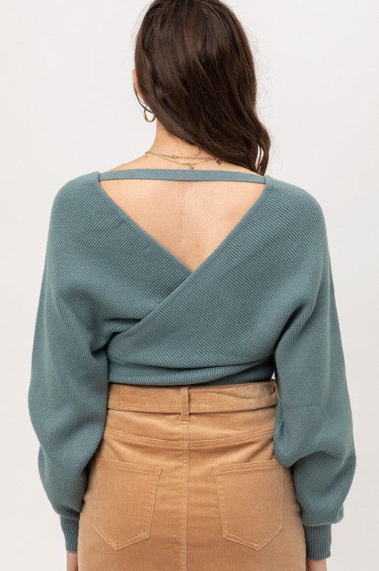 The Sophisticate Wrap Knit Sweater with Dolman Sleeves Teal