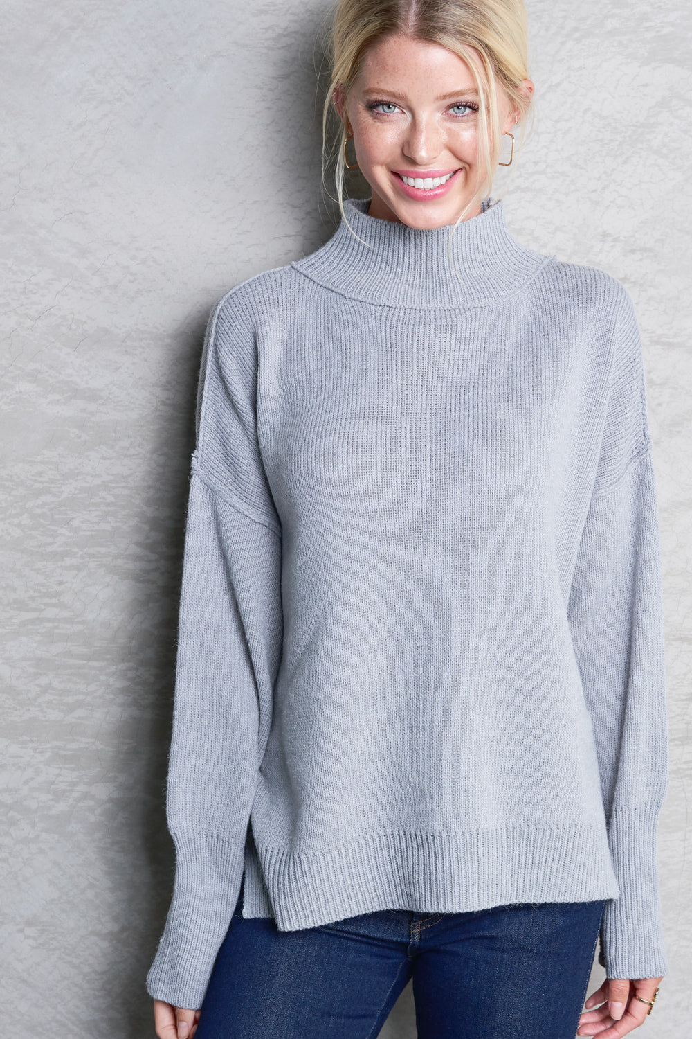 Winter Breeze Mock-Turtleneck Tunic Sweater
