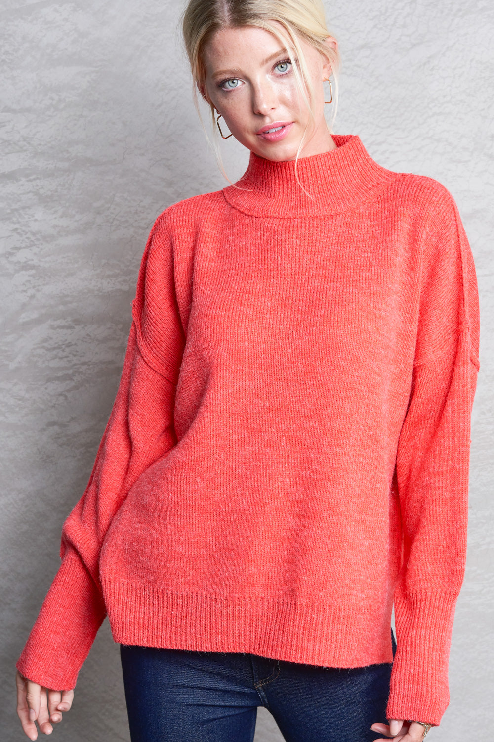 Pink Liberty Winter Breeze Mock-Turtleneck Tunic Sweater Tomato