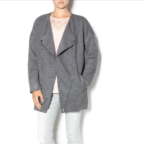 Ribbed Oversized Biker Jacket Grey