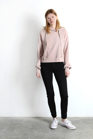 Pink Liberty Brushed Cotton Drawstring Hoodie Sweatshirt Mauve