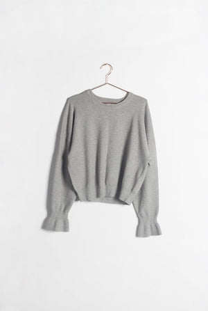 Pink Liberty Rory Brushed Knit Bell Sleeve Sweater Grey