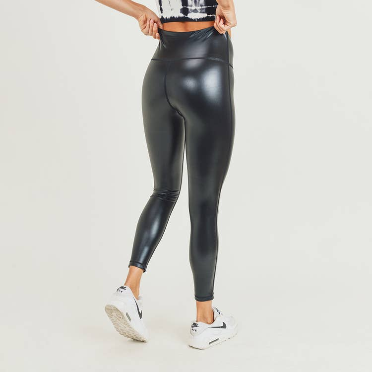 Pink Liberty The Drip Glossy Liquid Faux Leather High-waist Leggings Black