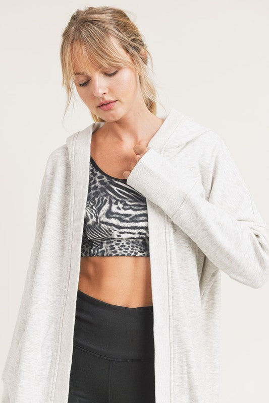 Pink Liberty It's the Weekend Longline Hoodie Cardigan with Fleece Lining Heather Grey