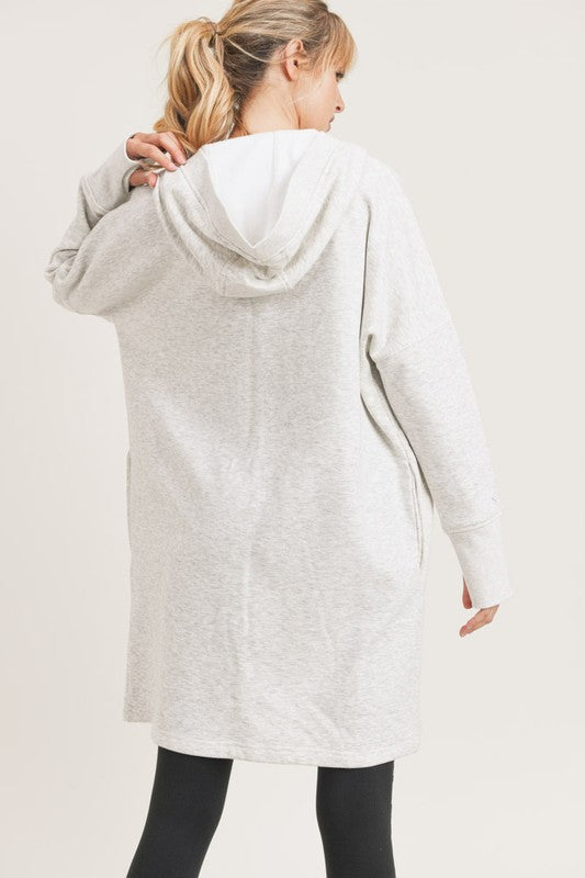 It's the Weekend Longline Hoodie Cardigan with Fleece Lining