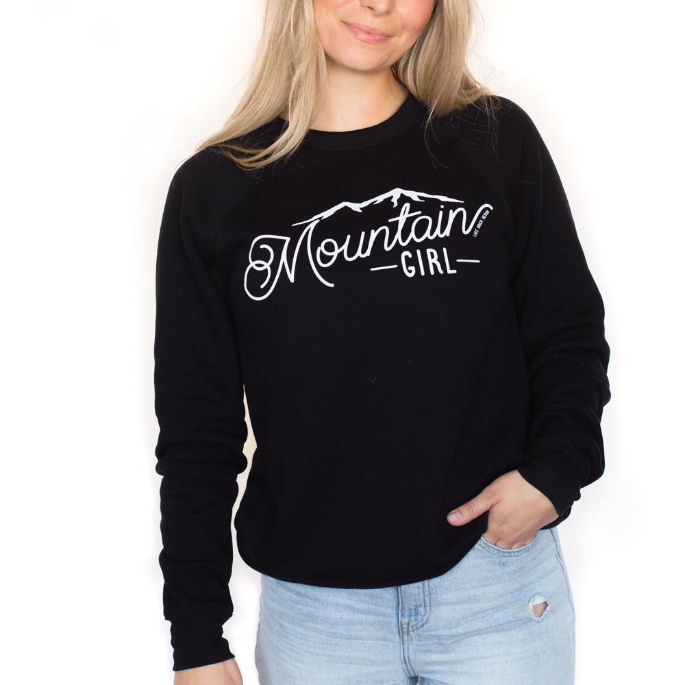 Pink Liberty Mountain Girl Crew Sweatshirt Lace Brick Design Black