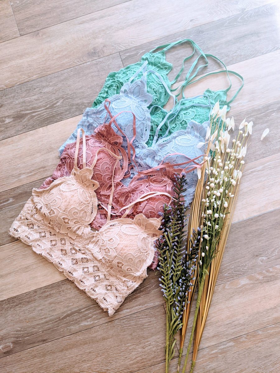 Pink Liberty Sweet Spring Crochet Lace Cross-Back Bralette