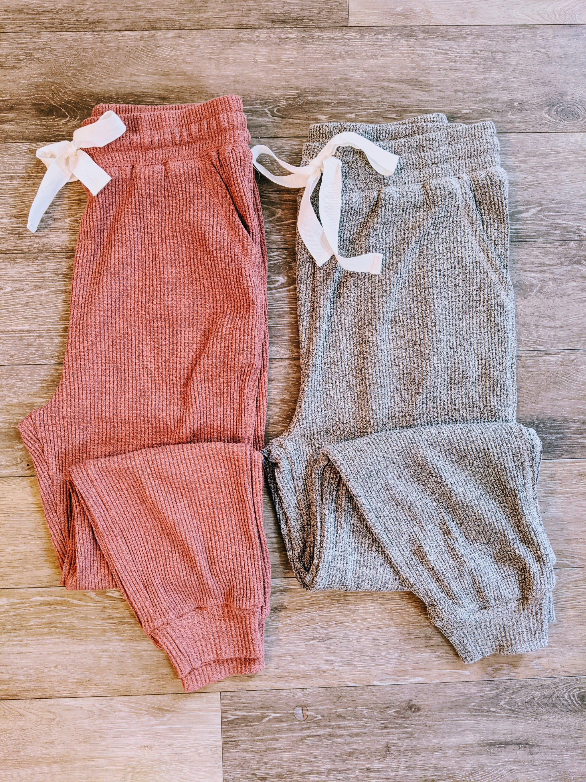 All Tied Up Thermal Waffle Joggers with Drawstring Waist