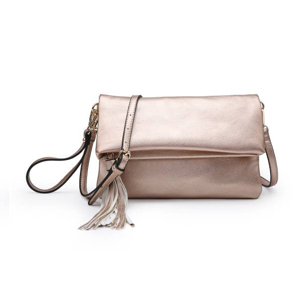 Pink Liberty Double-Duty Flapover Tassel Crossbody Clutch Rose Gold