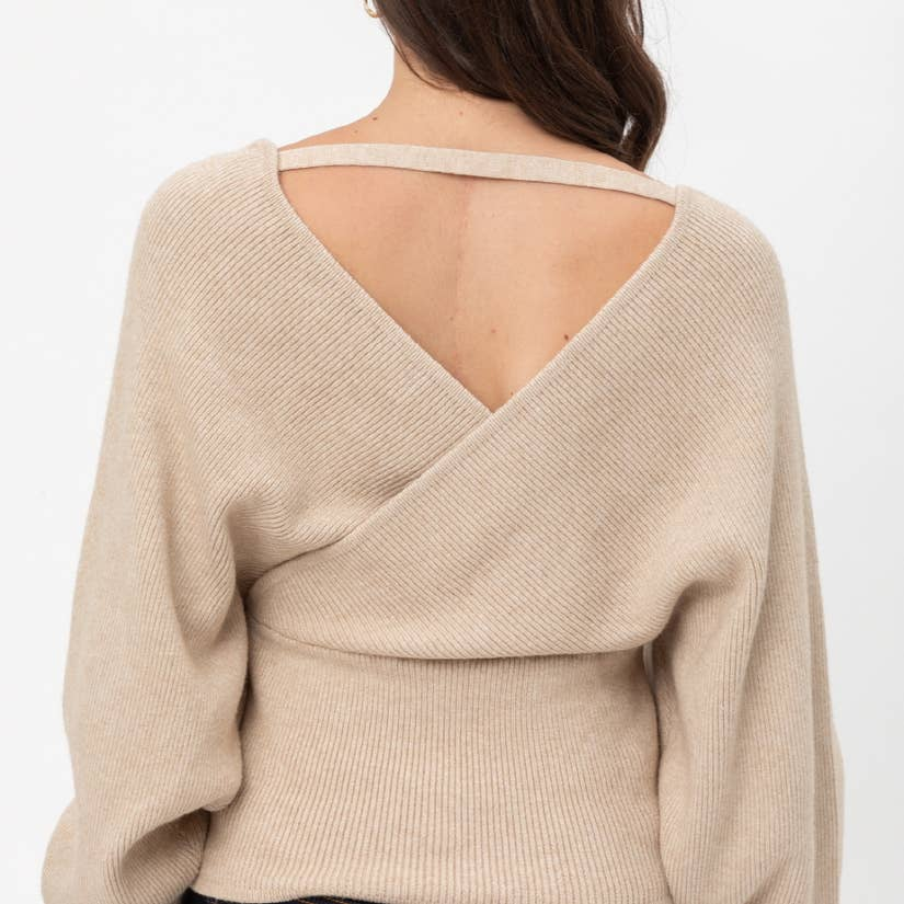 The Sophisticate Wrap Knit Sweater with Dolman Sleeves